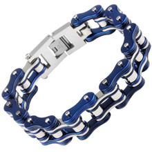Men's Bike Chain Bracelet Blue and Silver