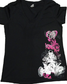 Black Pretty Dirty Sketch Quad V Neck