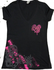 Black Pretty Dirty Racing Star V Neck