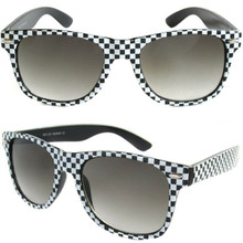 Checkered Black and White Frame RETRO Horn Rim SUNGLASSES CLASSIC Fashion 80s