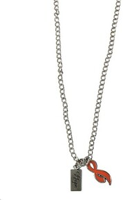 Silver Chain Necklace with Hope Charm & Orange Ribbon