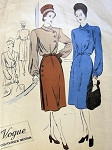 1940s Unique 2 Pc Dress Pattern VOGUE COUTURIER DESIGN 278 Lovely Curved Side Closing Blouse and Skirt Bust 32 Vintage Sewing Pattern