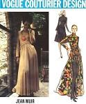 1970s VOGUE COUTURIER DESIGN PATTERN 2646 JEAN MUIR  EVENING DRESS, HOT PANTS SHORTS,  BEAUTIFUL DRAPED NECKLINE, FLARE SKIRTED , SIDE FRONT SLIT VERSION