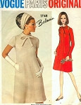1960s CLASSY Balmain  Dress Pattern VOGUE PARIS Original 1748 Semi Fitted A Line Day or Dinner Dress Seam Interest Bust 31 Vintage Sewing Pattern FACTORY FOLDED + Label