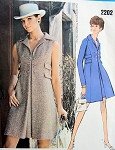 1960s  COAT DRESS PATTERN HIGH  FITTED A LINE STYLE CHESTER WEINBERG VOGUE AMERICANA PATTERNS 2202