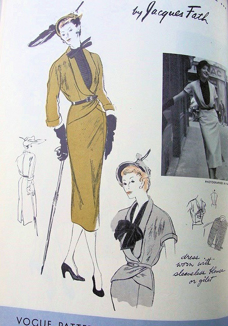 1950s Jacques Fath Slim Dress Jacket And Gilet Pattern Vogue Paris Original Model 1113 High Fashion Tuxedo Shaped Wrap Jacket Stunning Design Bust 30 Vintage Sewing Pattern A Ladies Shop
