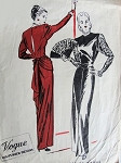 1940s FILM NOIR GORGEOUS EVENING GOWN PATTERN 2 VERSIONS PEPLUM or NOT,SO OLD HOLLYWOOD GLAM VOGUE COUTURIER DESIGN 269