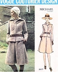 1970s DRESS, JACKET MICHAEL of LONDON PATTERN VOGUE COUTURIER DESIGN 2477