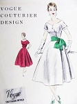 1950s Beautiful Princess Party Evening Dress Pattern VOGUE COUTURIER DESIGN 800  Almost Off Shoulders Neckline Striking Diagonal Closing Bust 32 Vintage Sewing Pattern + Vogue Label FF