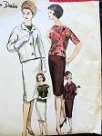 1960 DESSES Elegant 3 Pc Suit Pattern Vogue Paris Original 1065 Over Blouse With Unique Back Cowl Drape Bust 34 Vintage Sewing Pattern