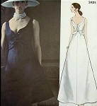 1970s BELINDA BELLVILLE Beautiful Evening Dress Gown Very Low Shaped Neckline Lace Up Bodice Stunning Gown Vogue Couturier Design 2421 Vintage Sewing Pattern Bust 32.5