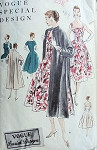 1950s Beautiful Cocktail Dress Evening Coat Pattern VOGUE SPECIAL DESIGN 4663 Bust 34 Vintage Sewing Pattern