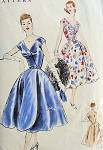 1950s BEAUTIFUL EVENING COCKTAIL DRESS PATTERN VOGUE 8792 FLARED SKIRT WRAPPED FRONT, SURPLICE BODICE, LOW V NECKLINE FIGURE FLATTERING DESIGN Bust 30