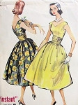 1950s BEAUTIFUL PARTY EVENING DRESS and CUMMERBUND PATTERN FLATTERING V NECKLINES McCALLS 4338