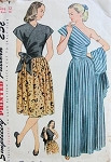 1940s Dramatic One Shoulder Evening Dress Pattern Simplicity 1674 Includes Surplice Daytime Version Bust 30 Vintage Sewing Pattern