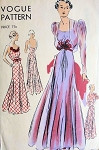 1930s BIAS CUT EVENING FROCK and BOLERO PATTERN BEAUTIFUL LOW DECOLLECTAGE, FULL DANCING 4 GORED CIRCULAR SKIRTED EVENING GOWN PUFF SLEEVED CUTAWAY FRONT BOLERO VOGUE 7386 Bust 32