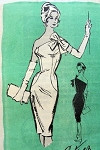 1950s Luis Estévez Chic Sophisticated Figure Flattering Cocktail Evening Dress Slim One Shoulder Curve Show Off Prominent Designer 130 Bust 34