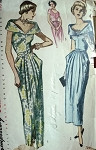 1940s Glamorous Evening Gown Dress Pattern Simplicity 2814 Flattering PORTRAIT COLLAR  Bust 34 Vintage Sewing Pattern FACTORY FOLDED