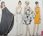 VOGUE 7528 1960s RARE Jackie Style One Shoulder Evening Gown Cocktail Dress Vintage Sewing Pattern