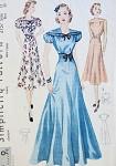 1930s  EVENING GOWN DRESS PATTERN LOVELY DRAPED SHOULDER YOKE, 3 BODICE VERSIONS SIMPLICITY 2757