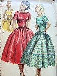 1950s Lovely Party Cocktail Dress Pattern SIMPLICITY 1515 Flattering Square Neckline Very Full Beautiful Skirt Bust 30 Vintage Sewing Pattern