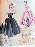 1950s  LOVELY EVENING DRESS PATTERN FLATTERING ALMOST OFF SHOULDERS NECKLINE, VERY FITTED BODICE BUTTERICK 6988