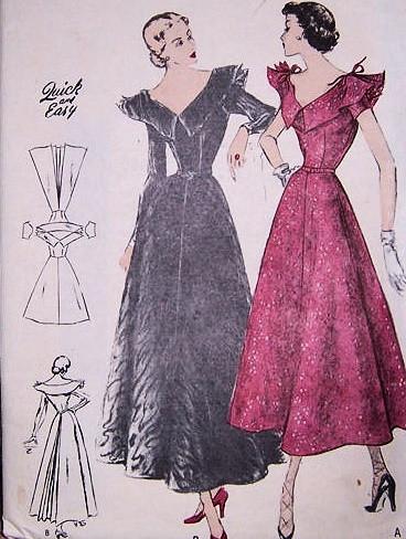 1940s BEAUTIFUL COCKTAIL EVENING DRESS PATTERN FLATTERING BERTHA COLLAR,  BACK INTEREST BUTTERICK QUICK n EASY PATTERNS 4781
