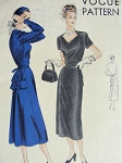 1940s Cocktail Dinner Party Dress Pattern VOGUE 6214 Flirty Film Noir Double Back Peplum Striking Diamond Neckline Bust 38 Vintage Sewing Pattern