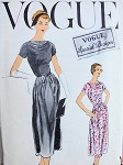 1950s Classy Cowl Neckline Cocktail Evening Dress Pattern VOGUE SPECIAL DESIGN 4807 Beautiful Pintuck Details Bust 34 Vintage Sewing Pattern