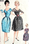 1960s Mad Men Audrey Style Cocktail Evening Party Dress Pattern Simplicity 3662 Bell Shape or Flared Skirt Styles Beautiful Shaped Neckline Bust 38 Vintage Sewing Pattern