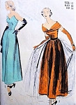 1940s STRIKING Strapless or Portrait Neckline Evening Dress ADVANCE PATTERN 5272 Shaped Strapless Bodice  or Shoulder Draped Optional Overskirt Bust 30 Vintage Sewing Pattern