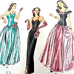 1940s Beautiful Evening Gown and Cape Pattern Hollywood 1501 Full Dancing Skirt or Slinky Film Noir Slim Dress Choice of 2 Necklines Bust 32 Vintage Sewing Pattern