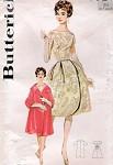 STUNNING 1960s  Audrey Hepburn Cocktail Evening Dress and Classy Clutch Coat Pattern Lovely Basque Bodice Bateau Neckline Bell Shape Skirt Butterick 9927 Vintage Sewing Pattern Bust 32