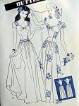 1940s  EVENING DRESS BALLROOM GOWN PATTERN LOW WIDE SWEETHEART NECKLINE, BASQUE BODICE, LONG TORSO STYLE, DIRNDL SKIRT PERFECT FOR DANCING BUTTERICK 3013