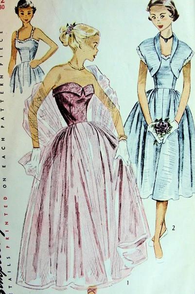 1940s STRAPLESS EVENING DRESS, BOLERO PATTERN