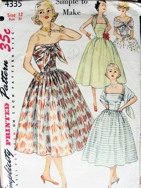 COCKTAIL PARTY DRESS PATTERN STRAPLESS