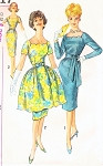 Late 1950s Party Cocktail Dress Pattern Simplicity 3717 Unique Fit and Flare Scalloped Neckline Sheath with Full  Detachable Overskirt Bust 32 Vintage Sewing Pattern