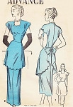 1940s Evening Gown or Daytime Dress Pattern Advance 4695 Stunning Film Noir Long Tunic Top Bust 34 Vintage Sewing Pattern