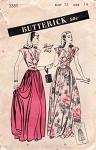 1940s EVENING DRESS PATTERN CAP SLEEVED DIRNDLE SKIRTED BUTTERICK 3389