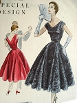 1950s  LOVELY  COCKTAIL EVENING DRESS PATTERN 4 PANEL with GODETS  VOGUE SPECIAL DESIGN 4544 Vintage Sewing Pattern Bust 30
