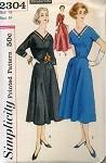 1950s DINNER or EVENING DRESS PATTERN 2 LENGTHS SIMPLICITY 2304