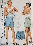 1940s MENS  BOXER SHORTS Pattern SIMPLICITY 4351 Waist Size 34 Vintage Sewing Pattern