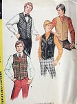 1970s Mens Set of Vests Pattern 3 Styles McCalls 3021