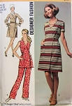 1970s Simplicity Designer Dress or Tunic and Pants Pattern 8871 Front Wrap V Neckline Uncut Bust 38