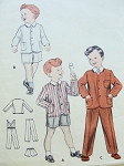 1950s Sweet Little Boys Suit Pattern Butterick 7302 Elastic Back Waist, Suspenders Long or Short Pants Size 4