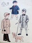 1950s Cute Little Boys Coat and Hat Cap Pattern Butterick 6321 Size 4