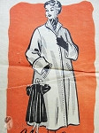 1950s Beautiful Full Flare Back Coat Pattern Deep Cuffs Stunning Design Anne Adams 4509