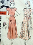 Beautiful 1930s  Dress and Hat Pattern Flippy Gored  Skirt, Neckline Has Radiating Darts A Sew Simple Design Featuring  Bette Davis for Hollywood Patterns 1352 Bust 32