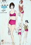 1960s Beach Wear Pattern  2 PC Bathing Suit, Tank Top and Shirt Swimsuit Cover Up Bond Girl Style Vogue 6175 Bust 32