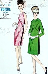 1960s Slim Mod Dress Pattern Deep Side Pleat Seam Interest Vogue 7092 Bust 34
